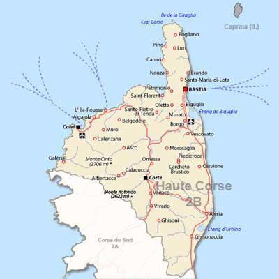 Carte Corse Nord.Carte De La Haute Corse Carte Du Departement Et Villes De Haute Corse